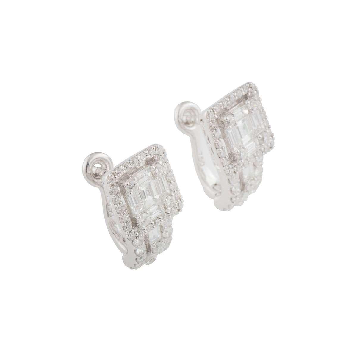 White Gold Diamond Cluster Earrings 1.03ct G-H/VS-VVS